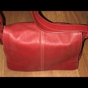 Beautiful All Leather Large Red Coach Bag!